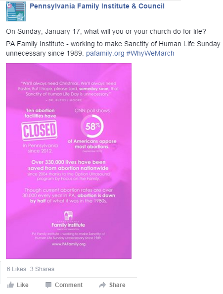 Sanctity of Life Sunday 2016 on Facebook