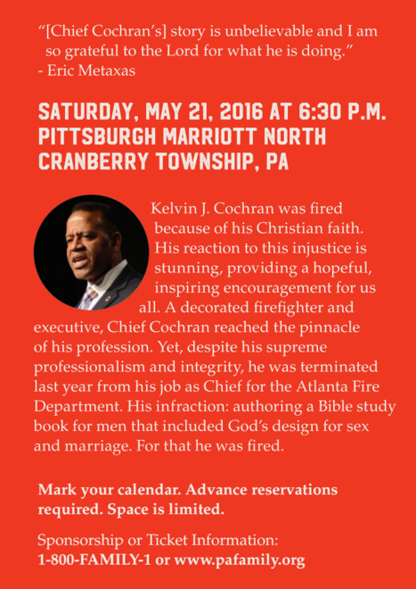 Saturday, May 21 - An evening with Chief Cochran