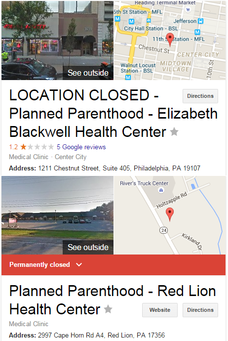 Planned Parenthood closings