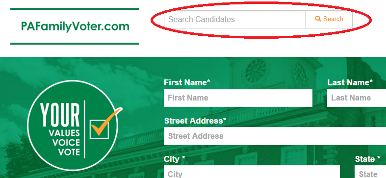 PaFamilyVoter.com search bar