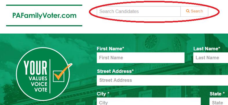 PaFamilyVoter.com search bar
