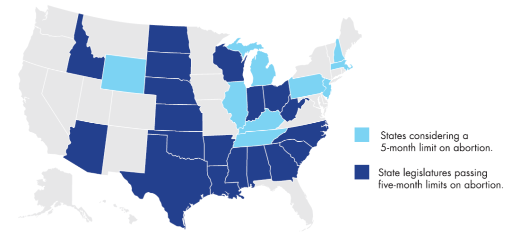 Map - Five Month Abortion Limit