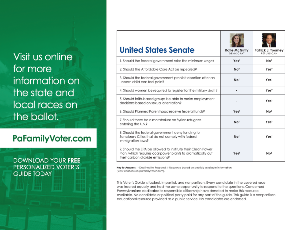 2016 US Senate General Election Voter Guide